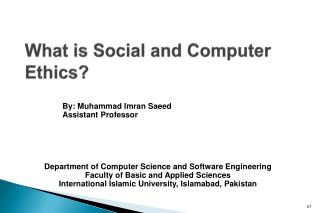 What is  Social and Computer  Ethics?