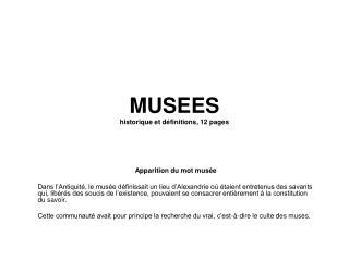 MUSEES historique et d finitions, 12 pages
