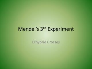 Mendel's 3 rd  Experiment