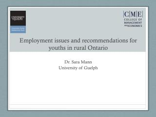 Employment issues and recommendations for youths in rural Ontario