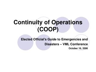 Continuity of Operations COOP