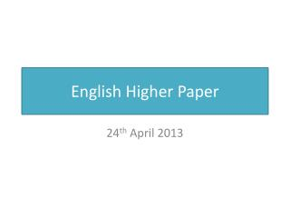 English Higher Paper