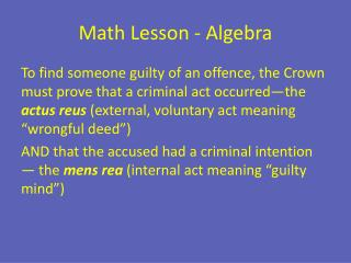 Math Lesson - Algebra