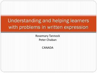 Understanding and helping learners with problems in written expression