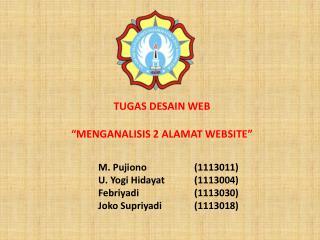 """TUGAS DESAIN  WEB """"MENGANALISIS 2 ALAMAT WEBSITE"""""""