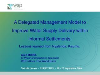 A Delegated Management Model to Improve Water Supply Delivery within Informal Settlements: