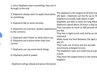 1. Once Elephants start something, they see it through to the end