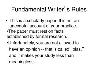 Fundamental Writer � s Rules