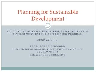 Planning for Sustainable Development