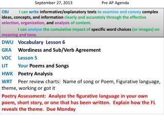 September 27, 2013  Pre AP Agenda