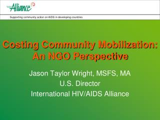 Costing Community Mobilization:  An NGO Perspective