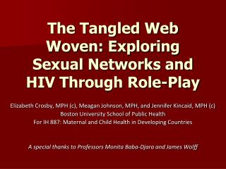 The Tangled Web Woven: Exploring Sexual Networks and HIV Through Role-Play