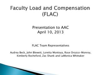 Faculty Load and Compensation (FLAC)