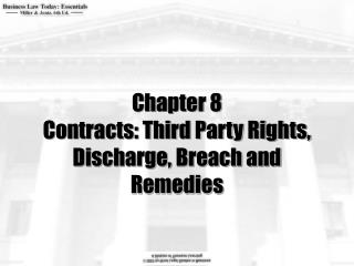Chapter 8 Contracts: Third Party Rights, Discharge, Breach and Remedies