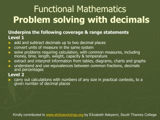 Functional Mathematics  Problem solving with decimals