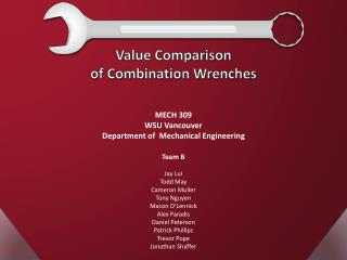Value Comparison  of Combination Wrenches