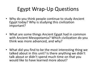 Egypt Wrap-Up Questions