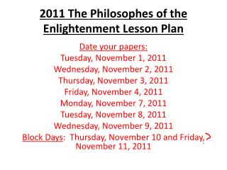 2011 The  Philosophes  of the Enlightenment Lesson Plan