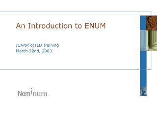 An Introduction to ENUM