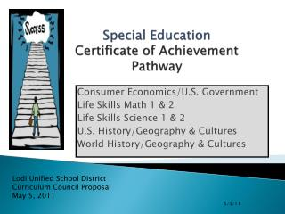 Special Education Certificate of Achievement Pathway