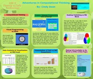 Adventures in Computational Thinking By: Cindy Doan