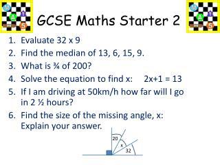 GCSE Maths Starter 2