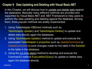 Chapter 6   Data Updating and Deleting with Visual Basic