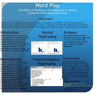 Word Play The Effect of Wording on the Responses to Surveys by Amanda Ciaramella and Kevin Tang