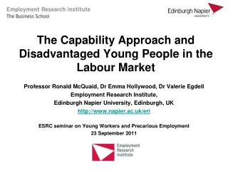 The Capability Approach and Disadvantaged Young People in the  Labour  Market