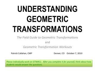 Understanding Geometric Transformations