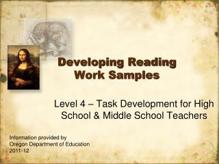 Developing Reading Work Samples