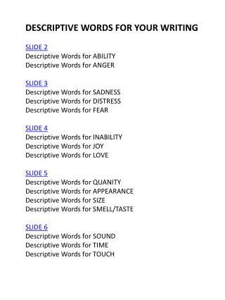 DESCRIPTIVE WORDS FOR YOUR WRITING SLIDE 2 Descriptive Words for  ABILITY