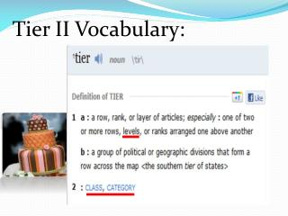 Tier II  Vocabulary: