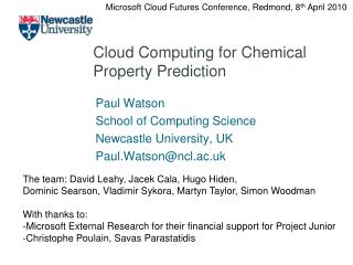 Cloud Computing for Chemical Property Prediction