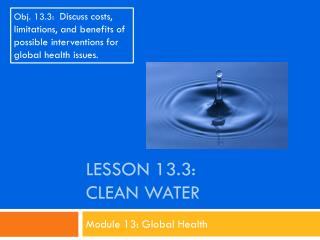 Lesson  13.3: Clean water
