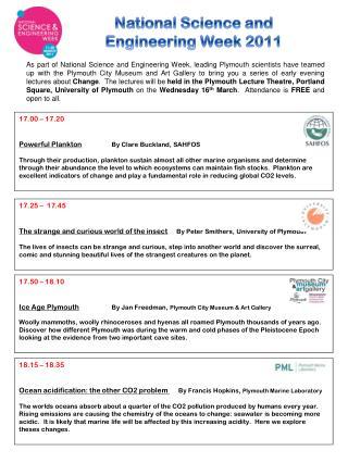National Science and  Engineering  Week  2011
