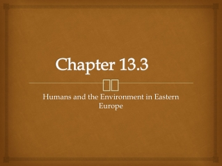 Chapter 13 Human Environment