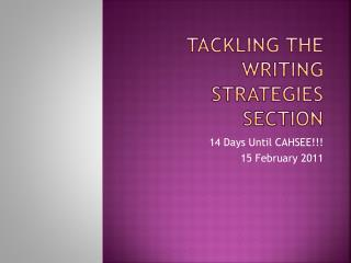 Tackling the writing strategies section