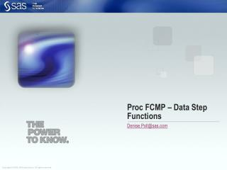Proc  FCMP  – Data Step Functions