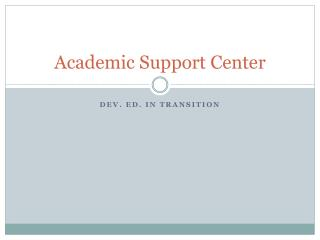 Academic Support Center