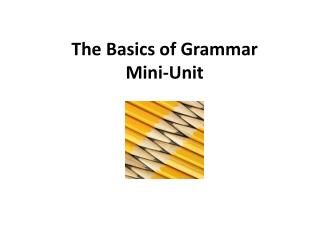 The Basics of Grammar  Mini-Unit