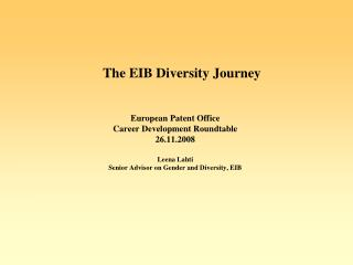 The EIB Diversity Journey