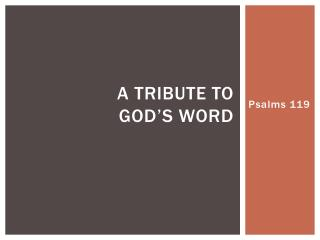 A tribute to  god's word