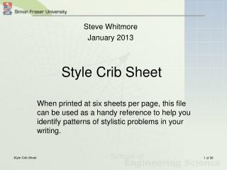 Style Crib Sheet
