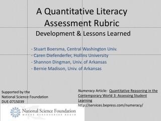 A Quantitative Literacy Assessment Rubric