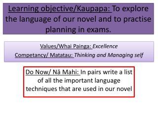 Values/ Whai Painga :  Excellence Competancy /  Matatau :  Thinking and Managing self