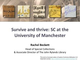 Survive and thrive: SC at the University of Manchester