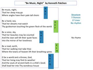 """Be Music, Night""  by Kenneth  Patchen"
