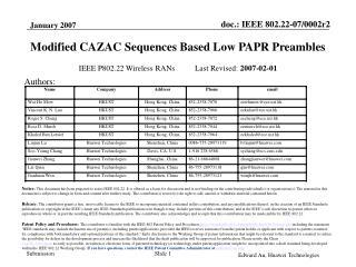 IEEE P802.22 Wireless RANs          Last Revised: 2007-02-01