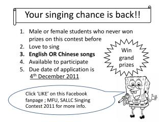 Your singing chance is back!!